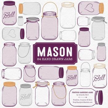 Plum Mason Jars Clipart & Vectors - Ball Jar Clipart