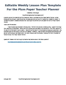 Plum Paper Teacher Planner - Editable Template!