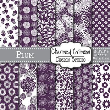 Plum Purple Floral Digital Paper 1348