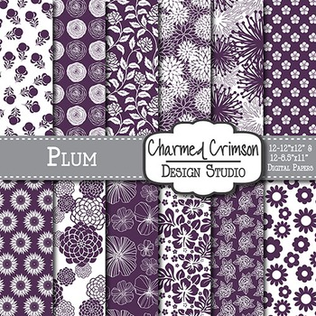 Plum Purple Floral Digital Paper 1348
