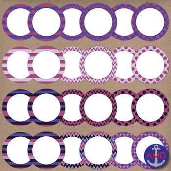 Plum Surprise Clip Art Chevron, Polka Dot & Striped Post-its, Labels & Notecards