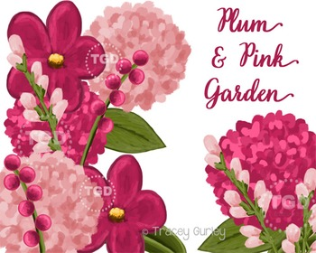 Plum and Pink Floral Clip Art Set Printable Tracey Gurley Designs