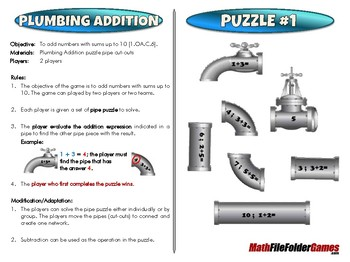 Plumbing Addition - 1st Grade Math Game [CCSS 1.OA.C.6]