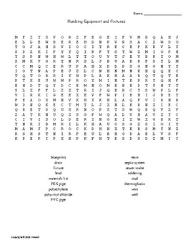 Plumbing Equipment and Fixtures Word Search for an Agriculture Structures Class