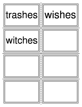 Plural Add es Spelling Cards