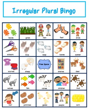 Plural Bingo Regular Plurals Irregular Plurals Combo 2497980 on Worksheets For Social Science Grade 5