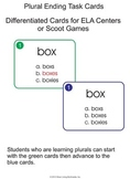 Plural Ending Task Cards - Differentiated Cards for Scoot