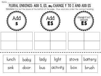 Plural Endings: Add S, ES, or Change Y to I and add ES: Cut and Paste