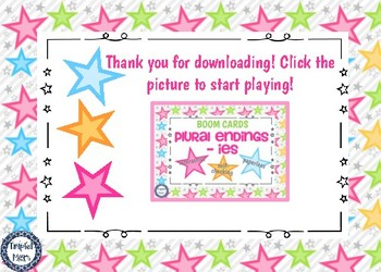 Plural Endings -ies Boom Cards Digital Task Cards