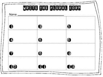 Plural Form Irregular Plural Nouns