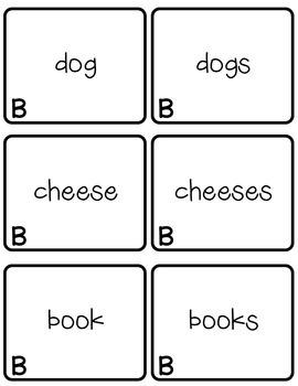 Plural Nouns Memory Game Set B