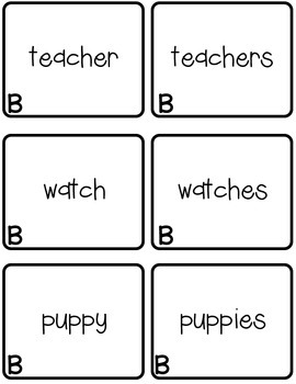 Plural Nouns Memory Game Set B