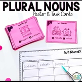 Plural Nouns Poster & Task Cards for First Grade Grammar Centers