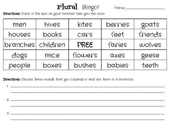 Plural Nouns BINGO!