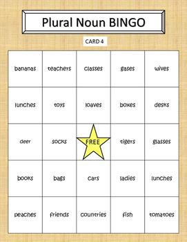 Plural Noun Bingo