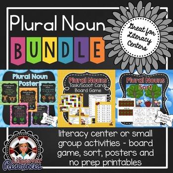 Plural Noun Bundle - Sort, Task/Scoot Cards, Posters, and Printables
