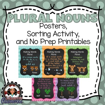 Plural Noun Posters, Sorting Activity, and Practice Printables