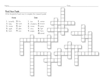 Plural Noun Crossword Puzzle Worksheet