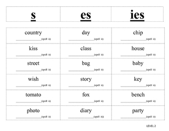 Plural Noun Endings sort -Differentiated(two levels)