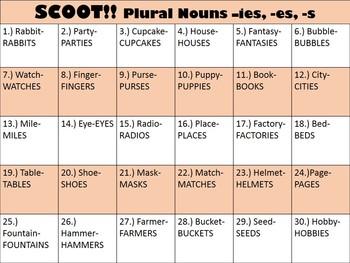 Plural Noun Endings Scoot Game - -ies, -es, -s