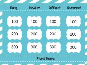 Plural Noun Jeopardy