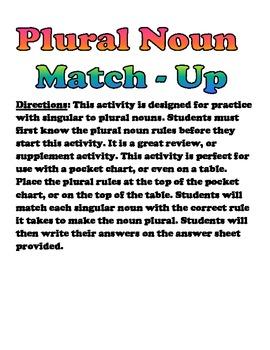 Plural Noun Match - Up