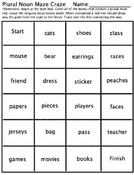 Plural Noun Maze Craze