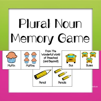 Plural Noun Memory Game - Back To School