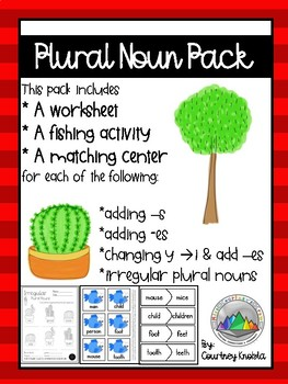 Plural Noun Pack BUNDLE 4 Lessons, 4 Differentiated Worksheets And 4 centers