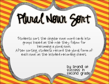 Plural Noun Sort {FREEBIE}