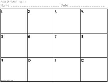 Plural Noun Task Cards, Adding -s & -es
