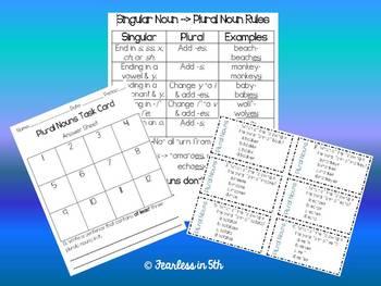 Plural Noun Task Cards & Chart