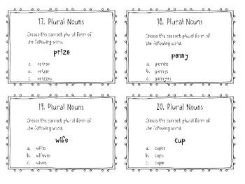 Plural Noun Task Cards - Common Core Aligned