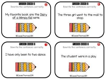 Plural Noun Task Cards {Plural, Irregular}