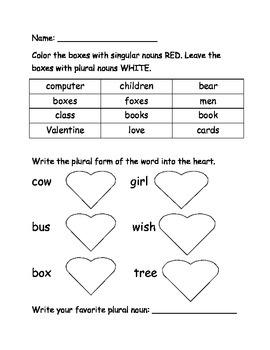 Plural Noun Valentine Practice