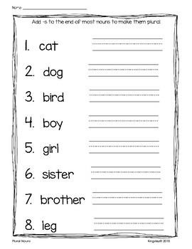 Plural Noun Worksheets (-s, -es, -ies, -ves, and irregulars)