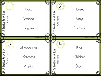 Plural Nouns 2 Truths and a Lie Task Card Activity