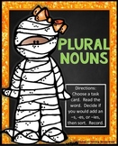 Plural Nouns adding -s and -es and y | Halloween Activity