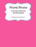 Grammar: Plural Nouns Review Sheet
