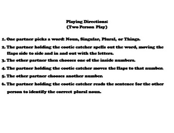 Plural Nouns Activity 2nd 3rd 4th 5th Grade (Grammar Games)