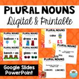 Plural Nouns- Adding S or ES Google Slides, Powerpoint, & Task Cards