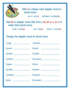 Plural Nouns - Adding s or es to form the plural noun