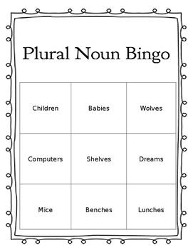 Plural Nouns Bingo