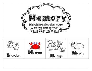 Plural Nouns Center Activity