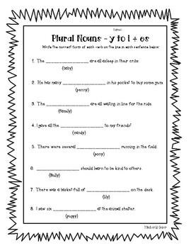plural nouns change y to i add es fill in practice worksheet tpt. Black Bedroom Furniture Sets. Home Design Ideas