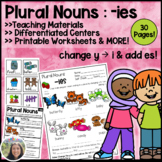Plural Nouns Teaching Packet Change y to i and add es, drop the y and add ies