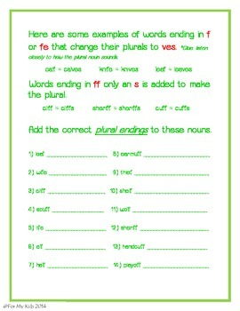 Plural Nouns - Changing the f to v and adding es