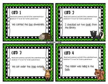 Plural Nouns (Ending in s, x, ch, or sh) Task Cards