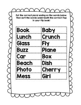 Plural Nouns Flipbook