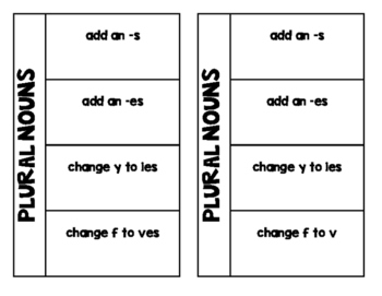 Plural Nouns Foldable and Exit Ticket VA SOL 2.13d
